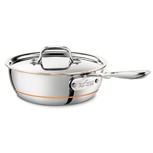 All-Clad 6212 Copper Core 5-Ply Bonded Dishwasher Safe Saucier Pan with Lid / Cookware, 2-Quart,...
