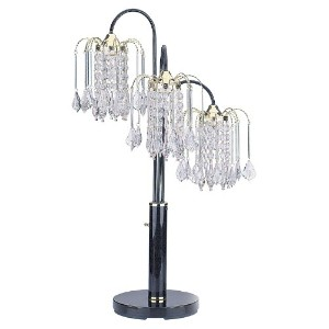 ORE International 716BK Table Lamp with Crystal-Like Shades, Black by ORE