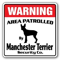 WARNING AREA PATROLLED By Manchester Terrier Security Co.サインボード:マンチェスターテリア 警備会社 セキュリティー パトロール 看板...