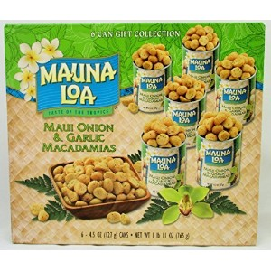 Maui Onion & Garlic Premium Roasted Macadamias, Island Classics 6-Tin Gift Pack by Mauna Loa...