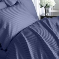 Egyptian Cotton 1000 Thread Count 3 - Pc Sateen Stripe Duvet Cover Navy Blue - Full(WITH EXTRA...