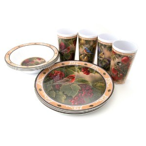 Motorhead Products Wild Wings Gift Boxed 12-Piece Melamine Tableware Sets, Songbird Series by R&D...