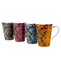 Konitz Rocaille 13-Ounce Mugs, Set of 4, Assorted Colors by Konitz