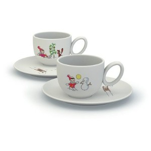 Alessi Niki Sulla Neve Cups with Saucers (Set of 2) [Set of 2]