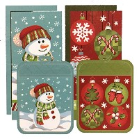 Town & Country Living クリスマス キッチン6点セット C タイプ (キッチンタオル×4 鍋敷き×2) Christmas 6Pack Kitchen Towel & Pot...