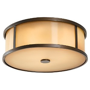 Murray Feiss OL7613HTBZ Dakota Collection Flush Mount, Heritage Bronze Finish with Aged Oak Glass...