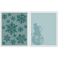 Sizzix Texture Fades A2 Embossing Folders 2/Pkg-Snow Flurries & Snowman By Tim Holtz (並行輸入品)