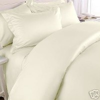 Solid Ivory 300 Thread Count King/California King Size 3PC Duvet Cover Set 100 % Cotton with button...