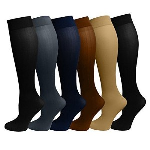 Ladies 6 Pair Pack Compression Socks (Assorted) by Dr. Motion
