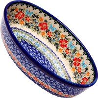 Polish Pottery Ceramika Boleslawiec Oval Mirek Baker 2, 9-2/3-Inch by 6-7/10-Inch, 5 Cups, Royal...
