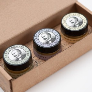 Captain Fawcett's Moustache Wax Cornucopia - 0.5oz (15ml) Jars, each of Lavender, Sandalwood &...