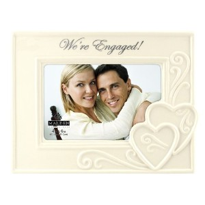 """Malden International Designs Glazed Ceramic Wedding """"We're Engaged """" Picture Frame, 4 by 6-Inch by..."""