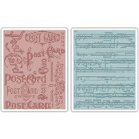Sizzix Texture Fades A2 Embossing Folders 2/Pkg-Postcard & Sheet Music By Tim Holtz (並行輸入品)