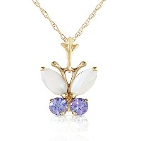 """K14 Yellow Gold 18"""" Necklace with Opal and Tanzanite Butterfly Pendant"""
