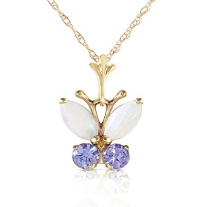 "K14 Yellow Gold 18"" Necklace with Opal and Tanzanite Butterfly Pendant"