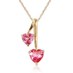 "K14 18"" Yellow Gold Necklace with Pink Topaz Hearts Pendant"