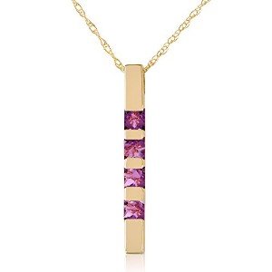 "K14 Yellow Gold 18"" Vertical Bar Necklace with Princess-cut Purple Amethysts"