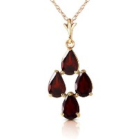 "K14 Yellow Gold 18"" Necklace with Pear-shaped Garnets"