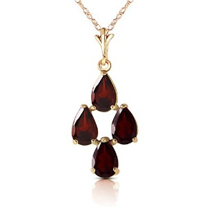 """K14 Yellow Gold 18"""" Necklace with Pear-shaped Garnets"""