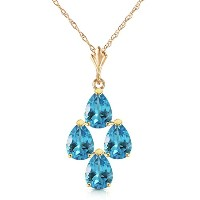 """K14 Yellow Gold 18"""" Necklace with Pear-shaped Blue Topaz"""