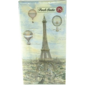 Punch Studio Guest Towel Napkins- #43206 Balloons Over Paris by Punch Studio