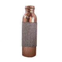 Rastogi Handicrafts Pure Copper Decorated Jointless 950 Ml Bottle For Water Storage
