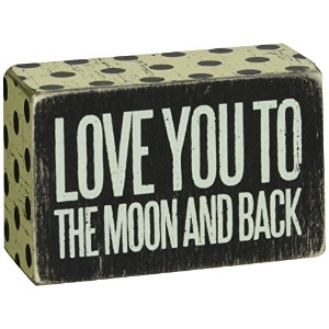Primitives Small Black Box Sign - Love You To The Moon & Back by Primitives by Kathy