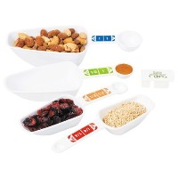 2in 1コンボ–プラスチック測定Scoopsとスプーンセット–ホワイト–カップon one end–Spoons on the other–Greatスペースセーバー