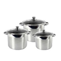 Heuck 36113 Classic Series 3-Piece Encapsulated Stainless Steel Stockpot Cookware Set with Tempered...
