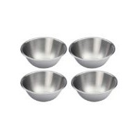 SET OF 4 - 6 1/2 Inch Wide Stainless Steel Flat Rim Flat Base Mixing Bowl by Winco