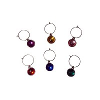 Multi-Colored Faceted Dangle Design Wine Gem Charms, Set of 6 by Franmara