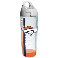 Tervis 1104739 NFL Denver Broncos Wrap Individual Water Bottle with Gray lid, 24 oz, Clear by Tervis