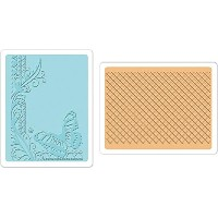Sizzix Textured Impressions A6 Embossing Folders 2/Pkg-Butterfly & Lattice (並行輸入品)