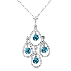 "K14 White Gold 18"" Grecian-inspired Necklace with Natural Round Blue Topaz"