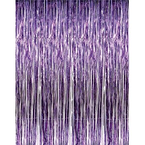3' x 8' Purple Tinsel Foil Fringe Door Window Curtain Party Decoration by RI Novelty