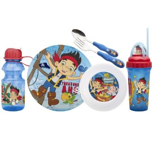 Zak! Designs Mealtime Set, Plate, Bowl, Tumbler, Water Bottle, Fork & Spoon with Jake and the Never...