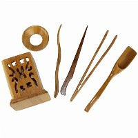 Bamboo 6 Pieces Tea Accessories Chinese Kongfu Tea Ceremony Utensils Set by Lvtan