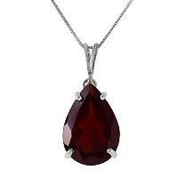 K14 White Gold Necklace with Natural Garnet