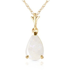 """K14 22"""" Yellow Gold Natural Pear-shaped Opal Drop Pendant Necklace"""