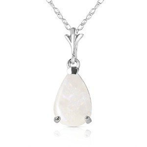 "K14 18"" White Gold Natural Pear-shaped Opal Drop Pendant Necklace"