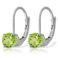K14 White Gold Leverback Earrings with Peridot