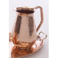 A29 Copper Water Pitcher Jug, Hammered, 100% Solid Pure Copper, 76 Fluid Ounces by A29