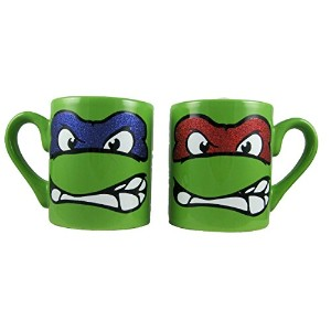 SET OF 2 TEENAGE MUTANT NINJA TURTLES CERAMIC MUGS - TMNT RAPHAEL & LEONARDO
