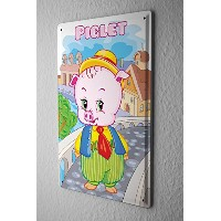 Tin Sign ブリキ看板 cute little pig in a suit on the bridge in the city comic cartoon s