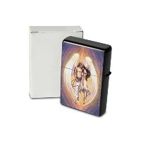 S. Fenech Pocket Vintage Windproof lighter ライター Brushed Oil Refillable pair of angels
