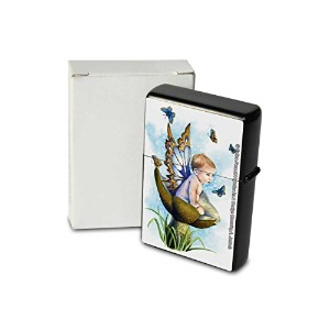 S. Fenech Pocket Vintage Windproof lighter ライター Brushed Oil Refillable Baby Child Butterfly