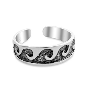 Sterling Silver Toe Ring with Textured Waves (Resizable)