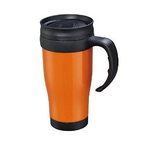 Cilio - Insulated Thermic Car Mug - Double Walled to Keep Drinks Warmer Longer - 0.4l - Orange/Black