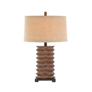 Catalina 19093-000 3-Way 30-Inch Rustic Bronze Table Lamp with Textured Linen Modified Drum Shade...