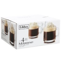 Libbey Moderno 10.4-oz. Clear Glass Cafe Mugs 4 Count Hot Beverage Coffee, Hot Chocolate, Irish...
